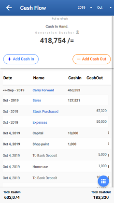 Cash-Flow Mobile View | StockApp