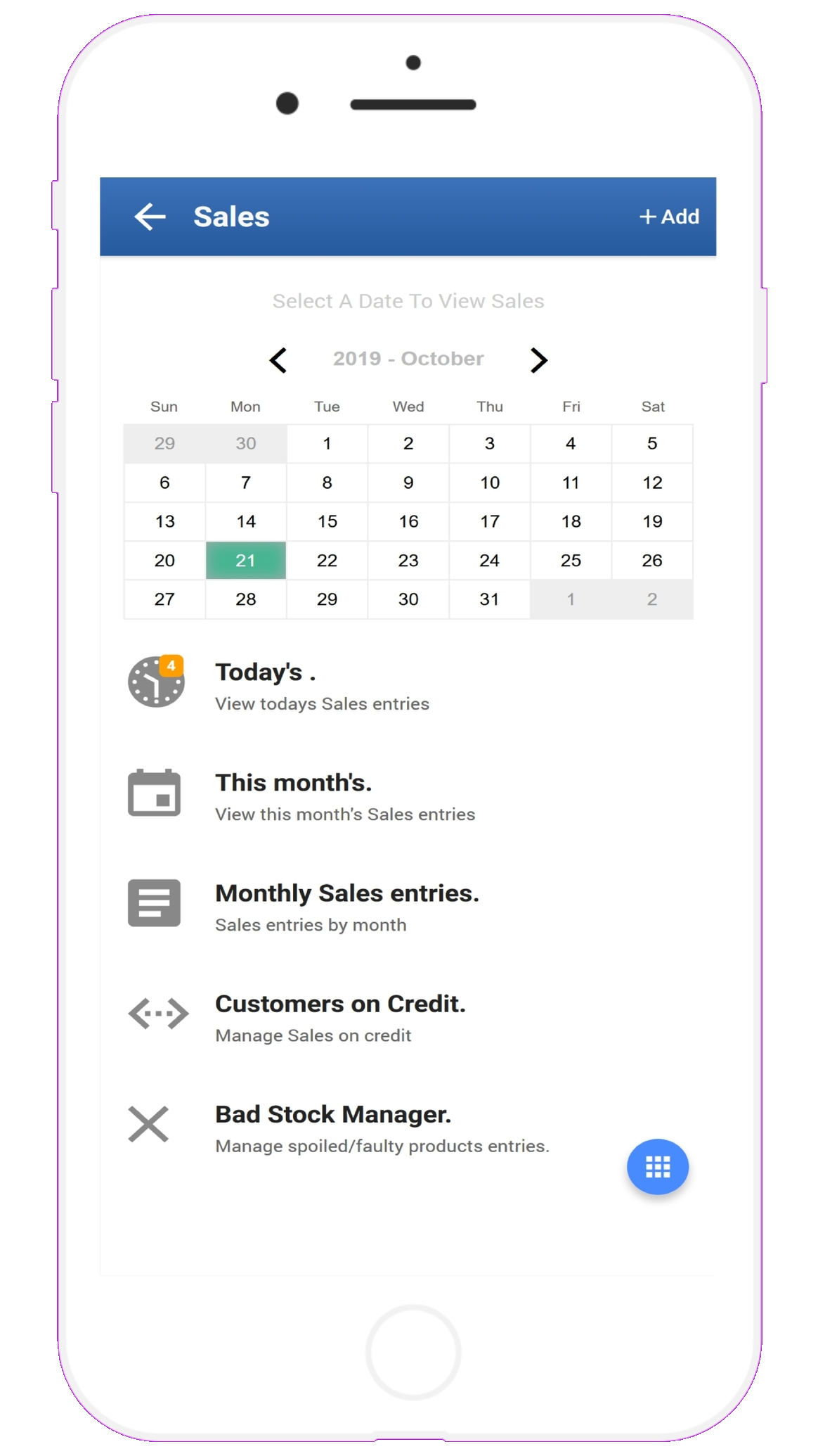 StockApp Sales Manager Dashbord